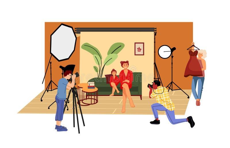 Flachbildstudio Cartoon-Fotograf und Modellfotografie im Studio mit professionellem Licht und Kamera stock abbildung