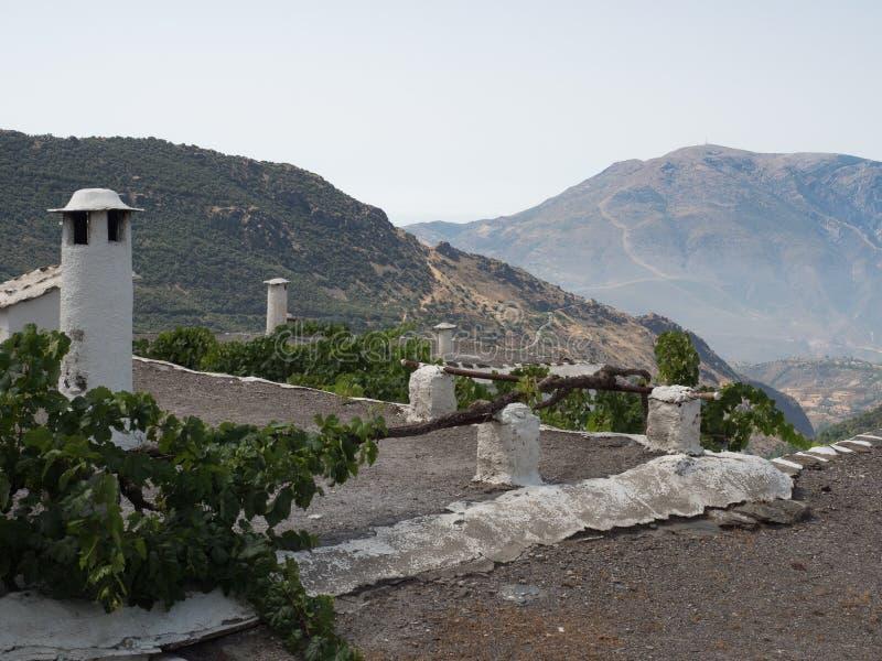 Flachdach und typischer Kamin im weißen Dorf in Les Alpujarras stockfotografie