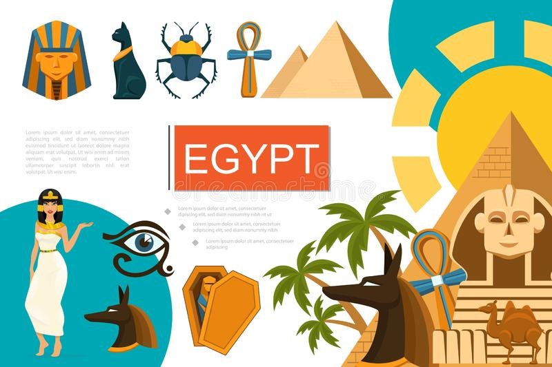 Flache Ägypten-Symbol-Zusammensetzung vektor abbildung