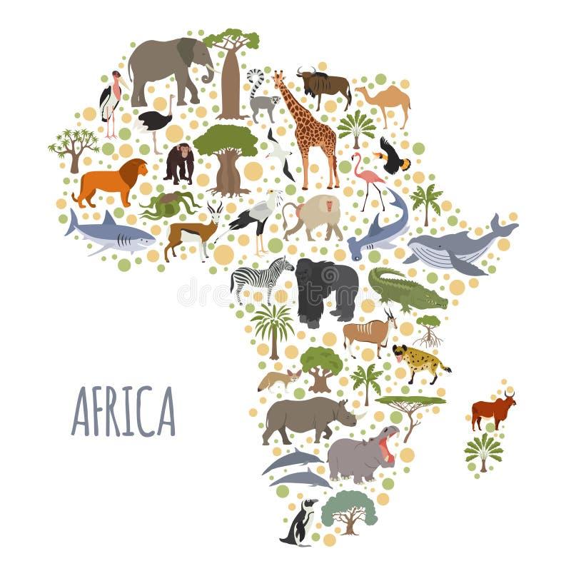 Flache Afrika-Flora und -fauna zeichnen Erbauerelemente auf Tiere, b vektor abbildung