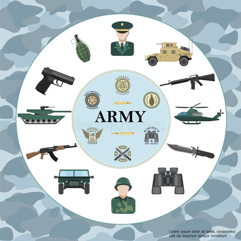 Flache Armee-rundes Konzept stock abbildung