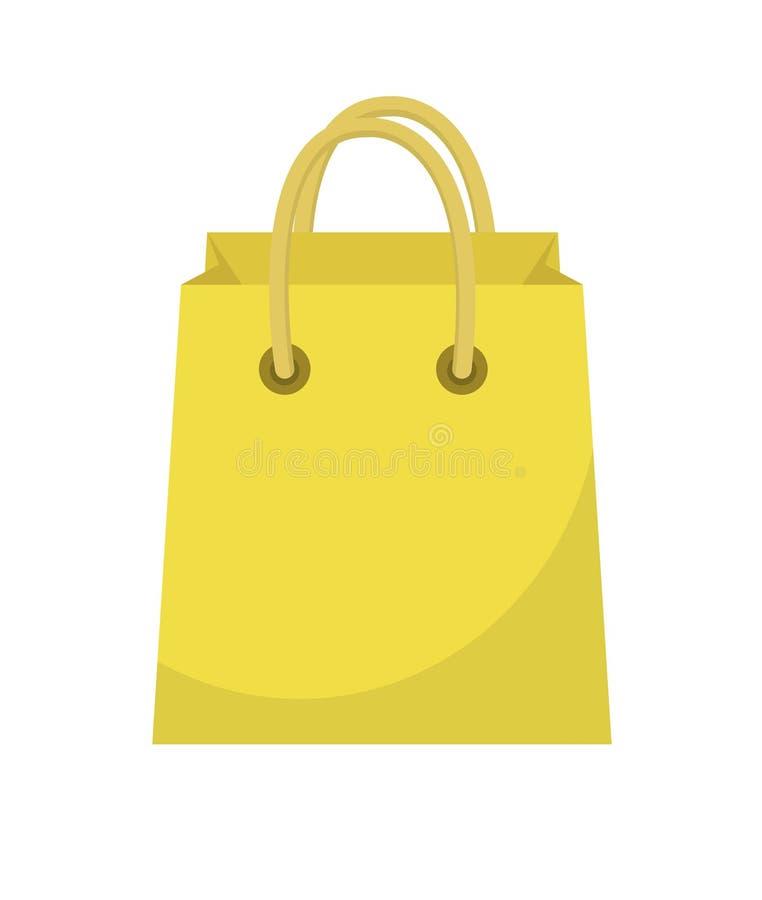Flache Art der Einkaufstascheikone Papiertüten auf einem weißen Hintergrund Geschenkpaket Auch im corel abgehobenen Betrag stock abbildung