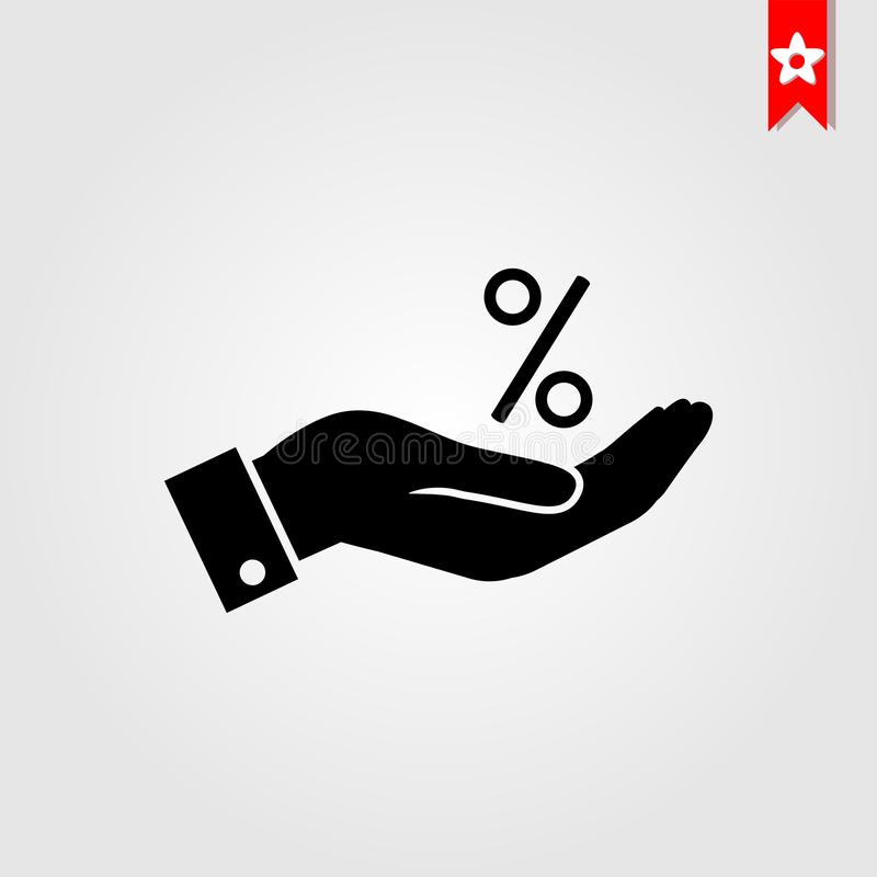 Flache Art der Ikone des Prozentsatzes an Hand stockfoto
