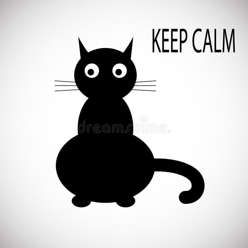 Flache Art der Ikone der schwarzen Katze Getrennt auf weißem Hintergrund stockfotos