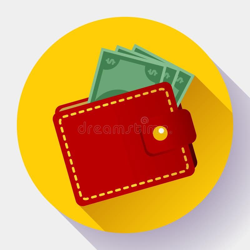 Flache Art der roten Geldbörse Vektor-Ikone Geldbörse mit Geldikonenvektor stock abbildung