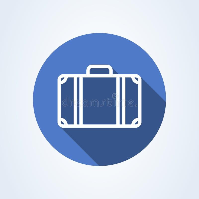 Flache Art des Koffers Vektorlinie Kunstillustrationsikone lokalisiert auf wei?em Hintergrund vektor abbildung