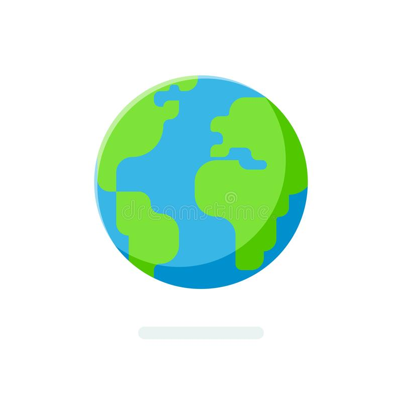 Flache Art Erdkugelikone Kugelförmige Weltkarte lokalisiert lizenzfreie abbildung
