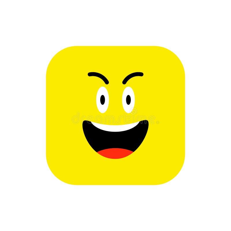 Flache Art glücklicher Emoji-Ikone Netter Emoticon gerundetes Quadrat zum Weltlächeln-Tag Nett, Lol, Gesicht genießend bunt vektor abbildung