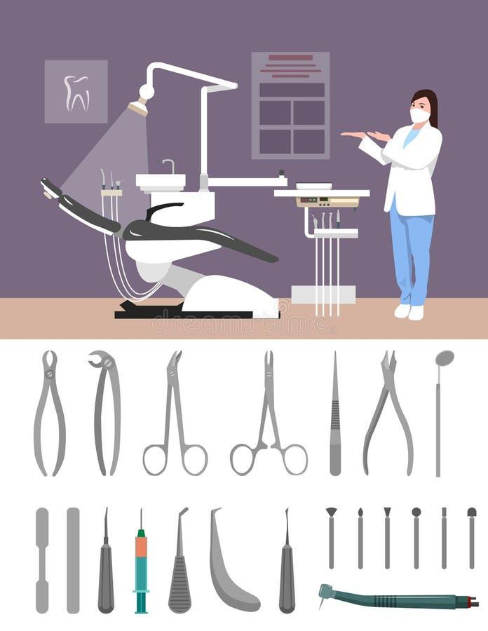 Flache Art Zahnarztklinikder innenvektor-Illustration Zahnmedizinische Werkzeuge auf weißem Hintergrund Krankenschwester im Krank vektor abbildung