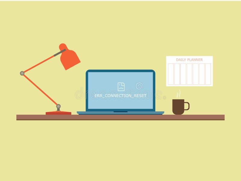 Flache Artarbeitstabelle mit Notizbuch, Lampe und Kaffeetasse vektor abbildung