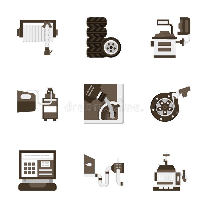 Flache Artautoservice-Ikonen lizenzfreie abbildung