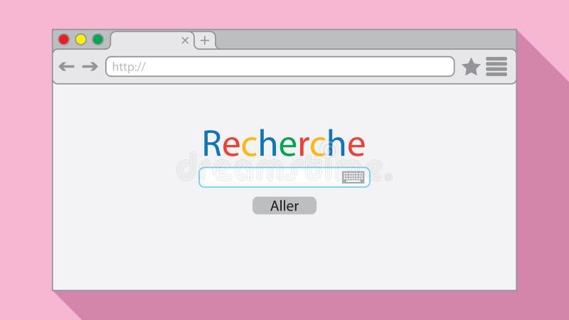 Flache ArtBrowser Window auf rosa Hintergrund Suchmaschineillustration vektor abbildung
