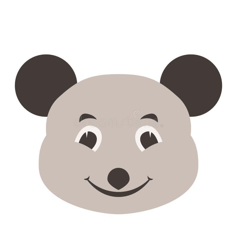 Flache Artfront der Mäusegesichtskarikaturvektorillustration lizenzfreie abbildung