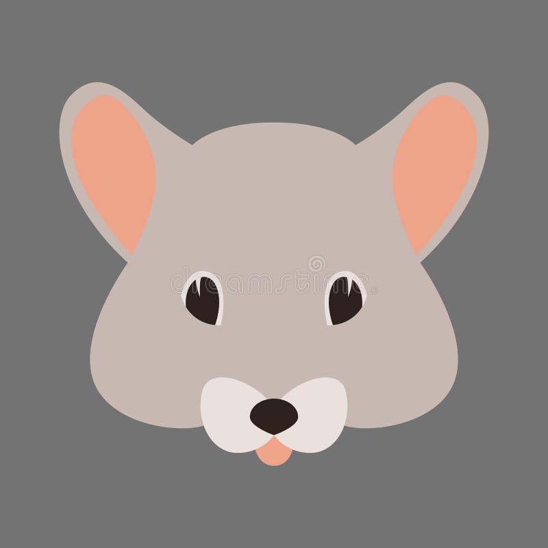 Flache Artfront der Mäusegesichtsvektorillustration lizenzfreie abbildung
