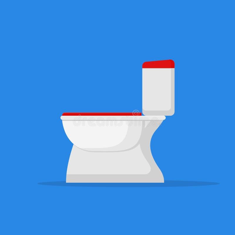 Flache Artikone der Toilettenschüssel auf blauem Hintergrund Auch im corel abgehobenen Betrag stock abbildung