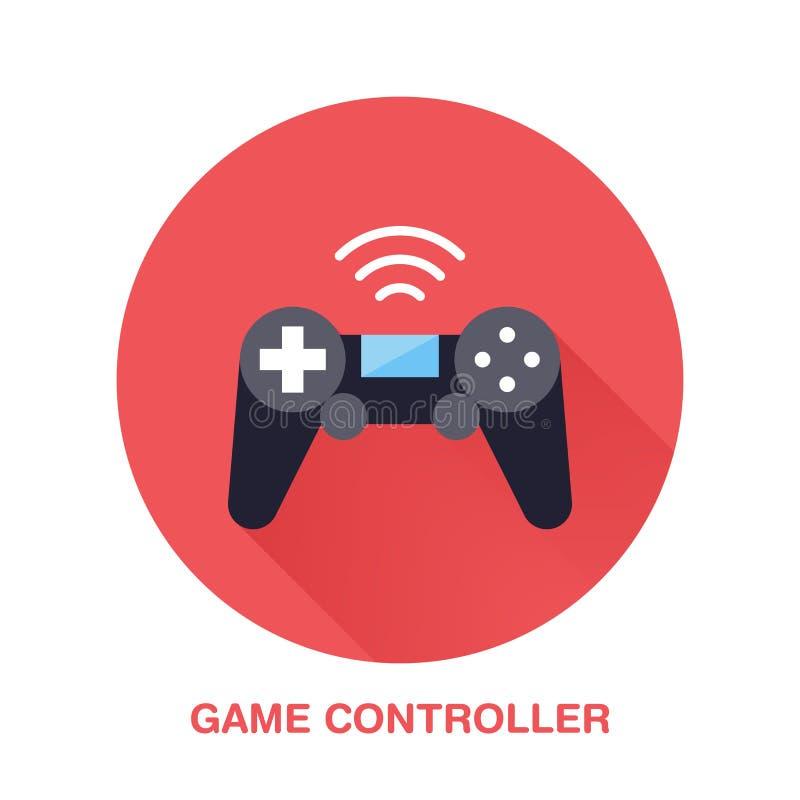 Flache Artikone des Gamecontrollers Drahtlose Technologie, Videospielgerätzeichen Vektorillustration der Kommunikation stock abbildung