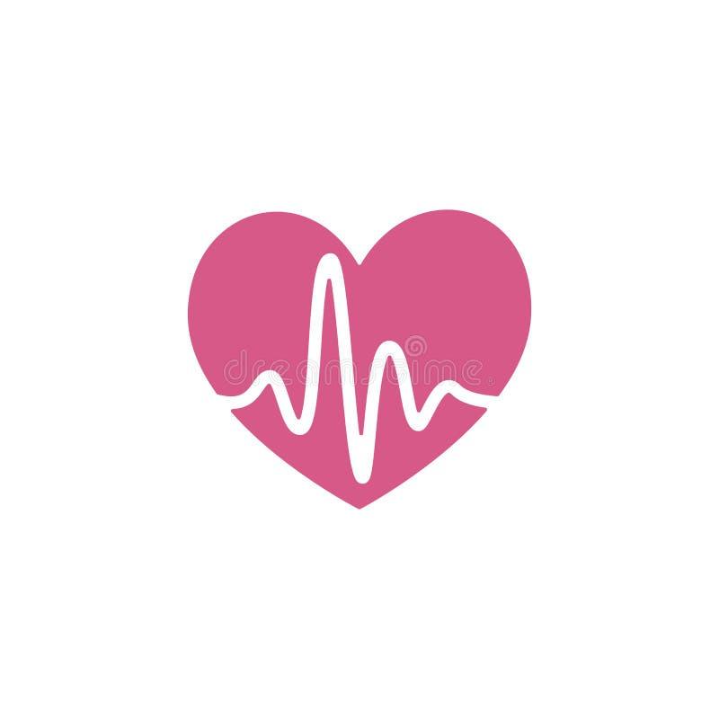 Flache Artikone des Vektors - Herz mit Pulsschlag - für Sportteam, Läuferclub, Triathlonmarathon für Logo, Ikone, Plakat, Fahn stock abbildung