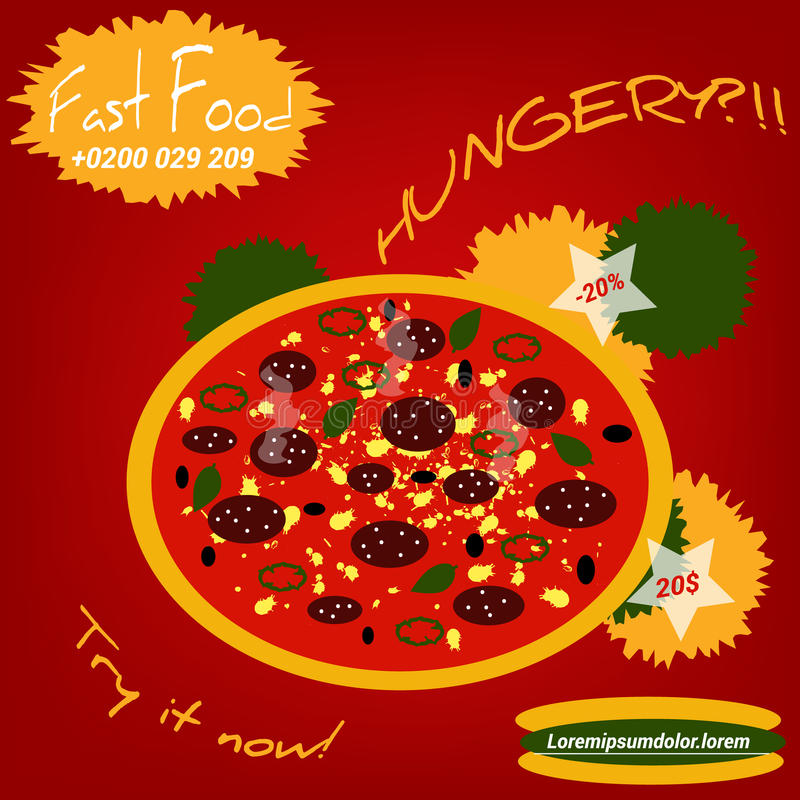 Flache Artillustration der Pizza lizenzfreie stockfotos