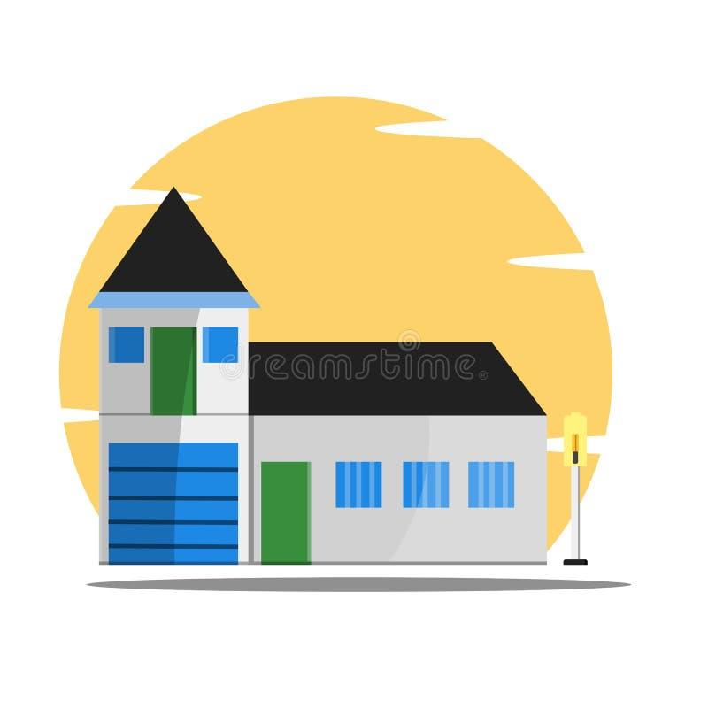 Flache Artillustration des Hauses - Vektor lizenzfreie abbildung