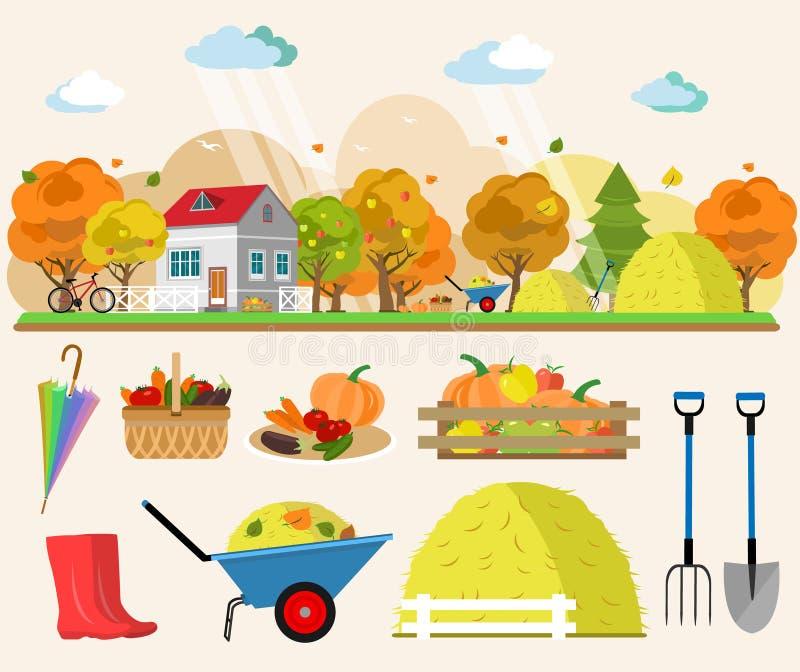 Flache Artkonzeptillustration der Herbstlandschaft mit Haus, Regen, Heuschober, Körbe des Gemüses, Bäume, Werkzeuge für Garten stock abbildung