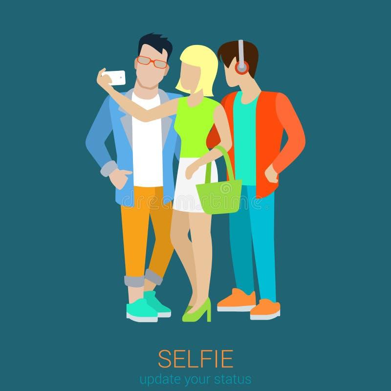 Flache Artvektorfreunde, die selfie machen: blondes Mädchen und Hippie lizenzfreie abbildung