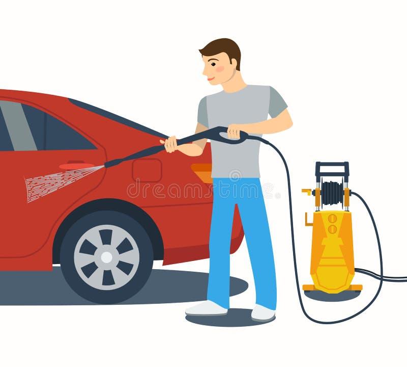 Flache Artvektorillustration des Mannes ein Auto waschend lizenzfreie abbildung