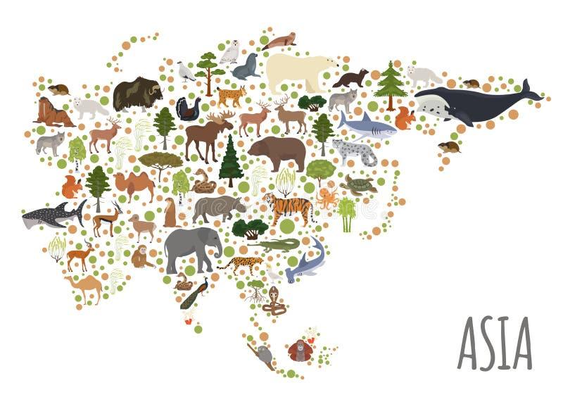 Flache asiatische Flora und Fauna zeichnen Erbauerelemente auf Tiere, Bi vektor abbildung