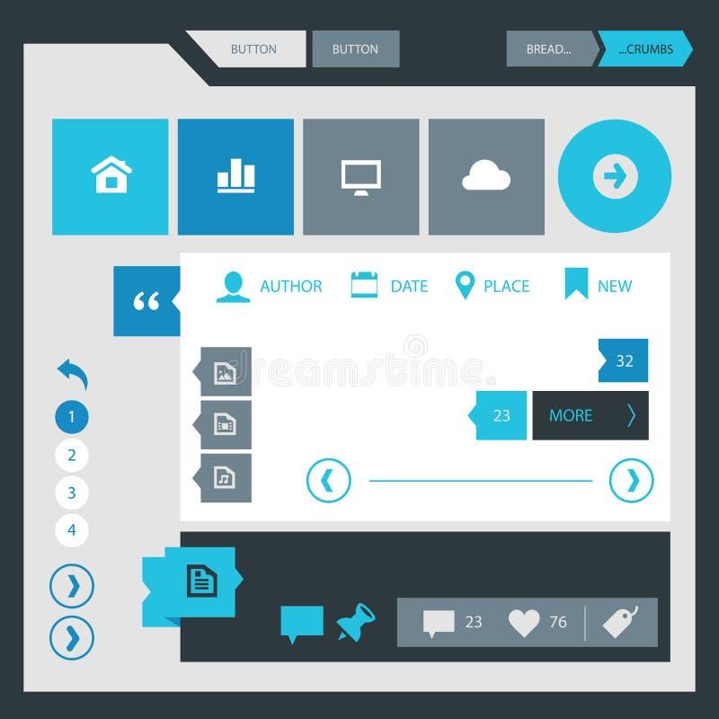 Flache Ausrüstung des Designs UI UX lizenzfreie abbildung