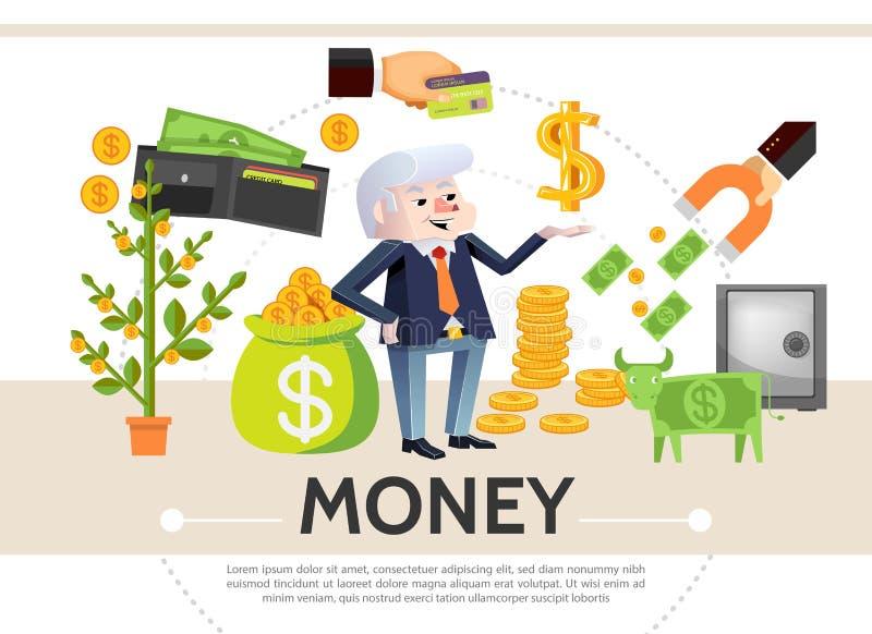 Flache Bargeld-Ikonen-Zusammensetzung stock abbildung
