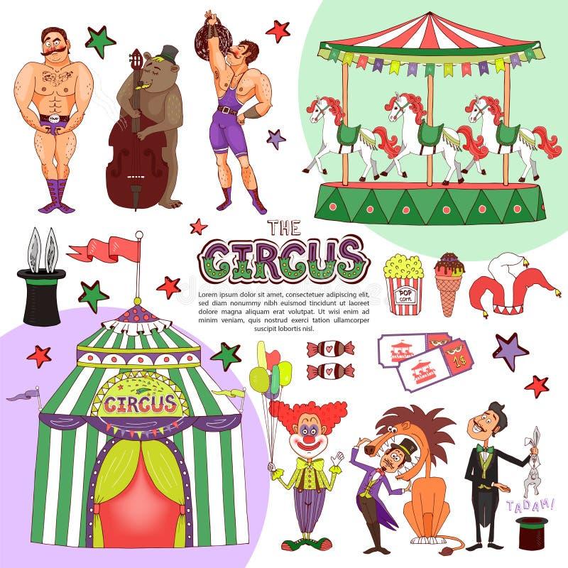 Flache bunte Zirkus-Schablone lizenzfreie abbildung