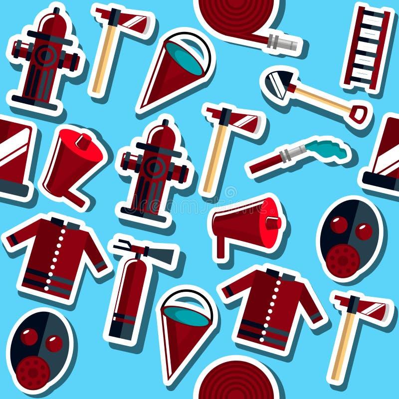 Flache Collage des Feuerwehrmanns stock abbildung