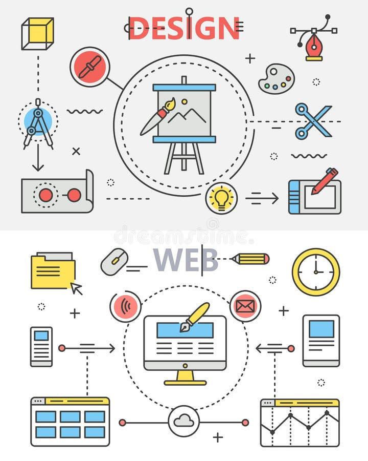 Flache dünne Linie Fahnen des Designs und der Web-Entwicklung Vektorkonzeptelemente, Ikonen stock abbildung