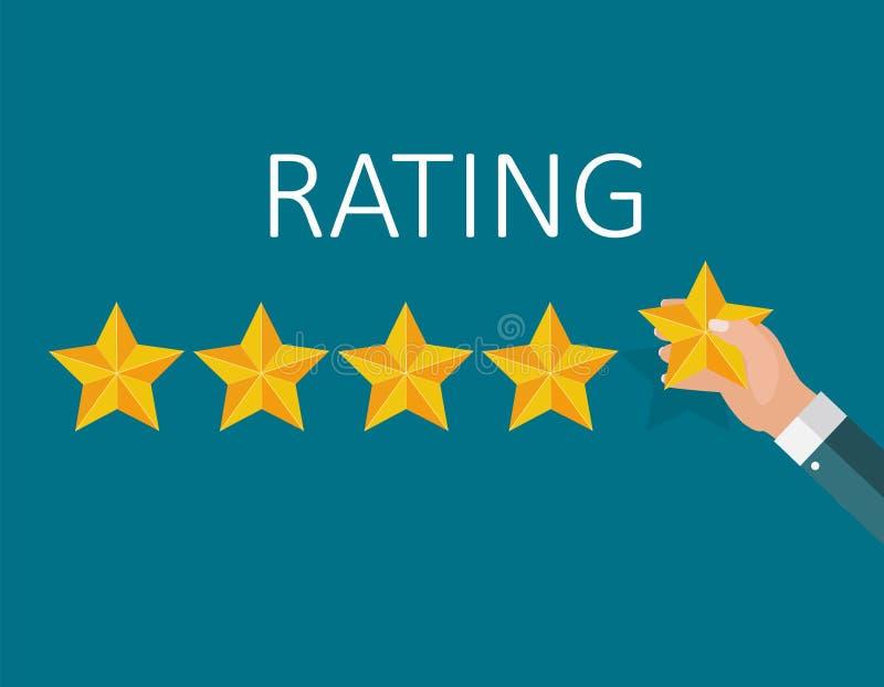 Flache Design-Hand mit Stern-Bewertung Bewertungs-System und positives Bericht-Zeichen Auch im corel abgehobenen Betrag lizenzfreie abbildung