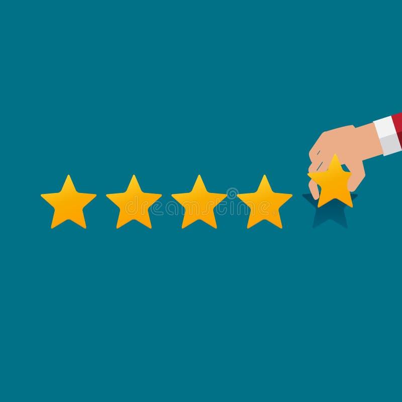 Flache Design-Hand mit Stern-Bewertung Bewertungs-System und positives Bericht-Zeichen Auch im corel abgehobenen Betrag vektor abbildung