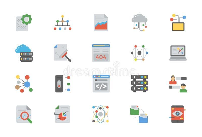 Flache Design-Ikonen der Datenverwaltung stock abbildung