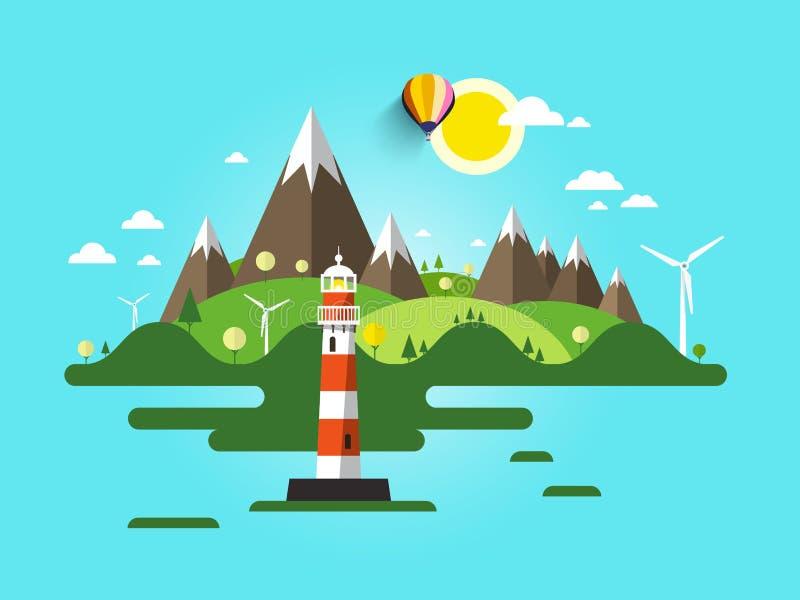 Flache Design-Natur-Szene Ozean-oder Seelandschaft mit Bergen und Wind-Mühlen auf Insel lizenzfreie abbildung