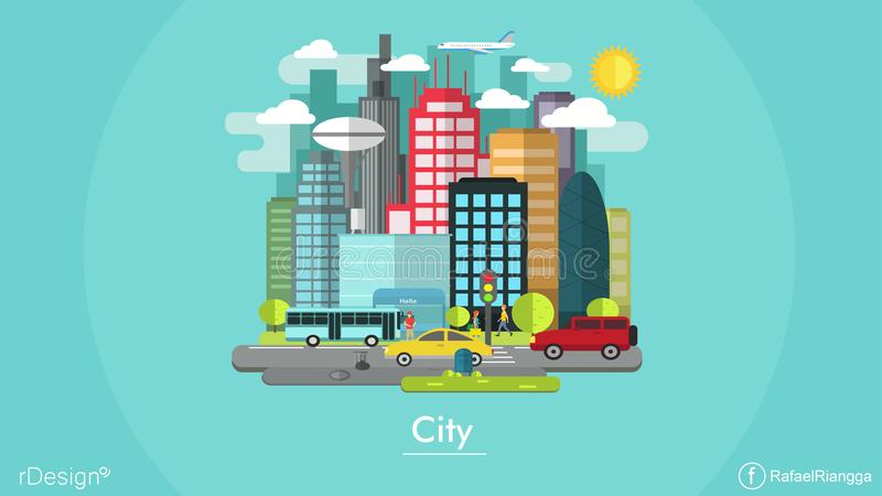 Flache Design-Stadt lizenzfreies stockbild