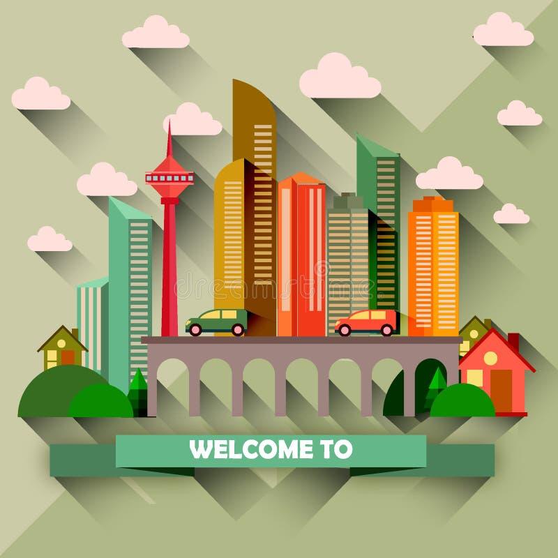 Flache Design-Stadt-Vektor-Illustration stockfoto