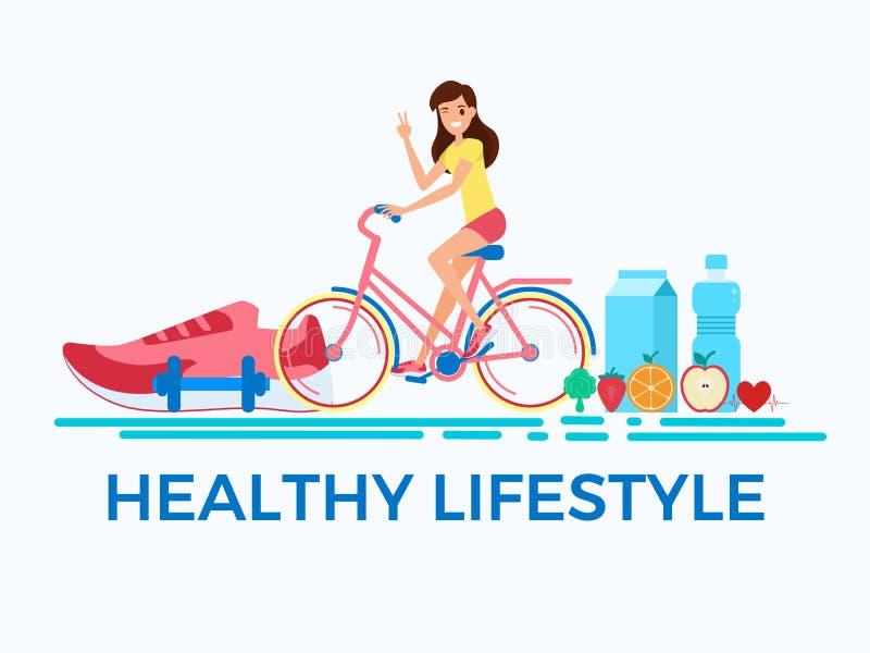Flache Designart Gesundes Lebensstilkonzept Erwachsene Fahrräder der jungen Frau Reit stock abbildung