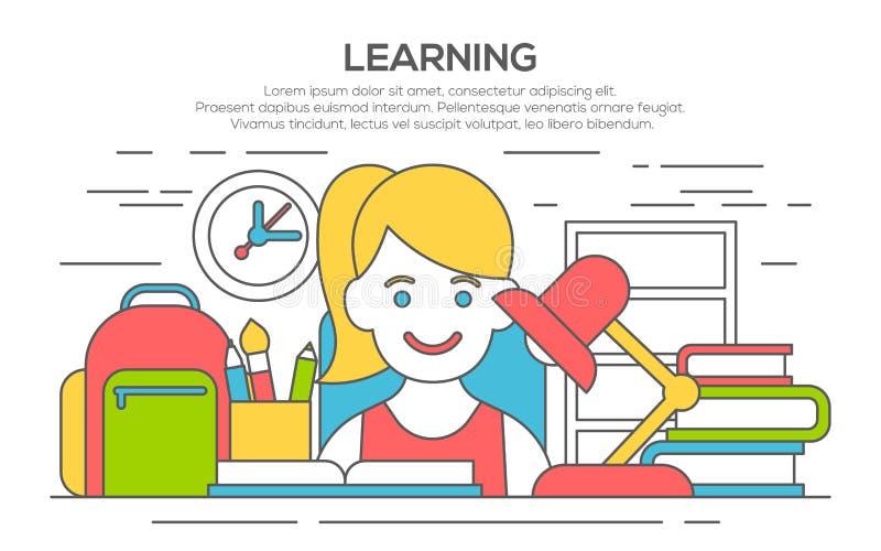 Flache Designfahne für Bildung, Lernprozeß stock abbildung