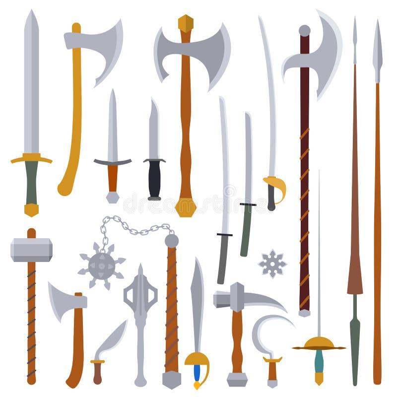 Flache Designfarbmittelalterlicher Waffensatz lizenzfreie abbildung