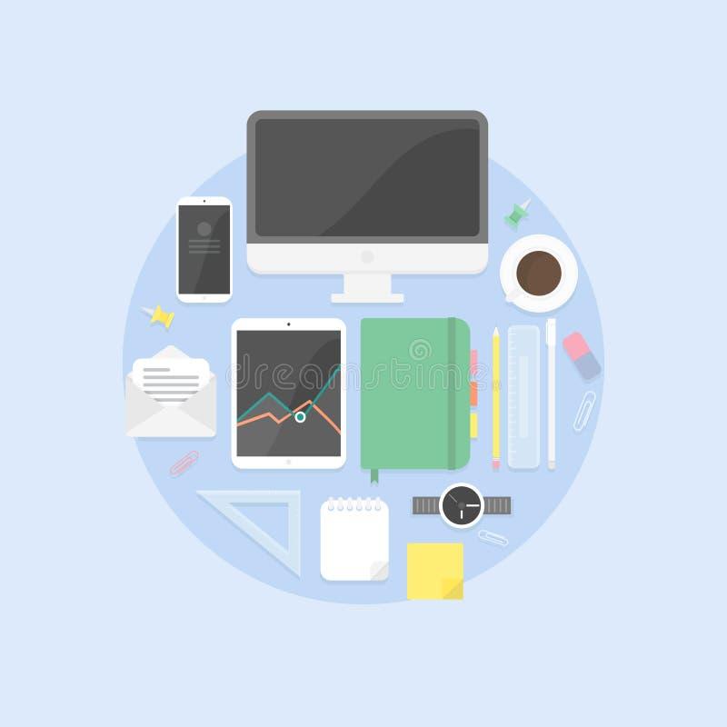Flache Designgegenstände, produktiver Büroarbeitsplatz