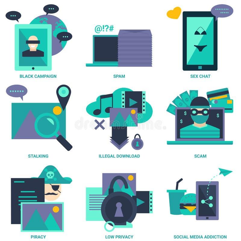 Flache Designikone der Internet-schlechten Auswirkung lizenzfreie abbildung