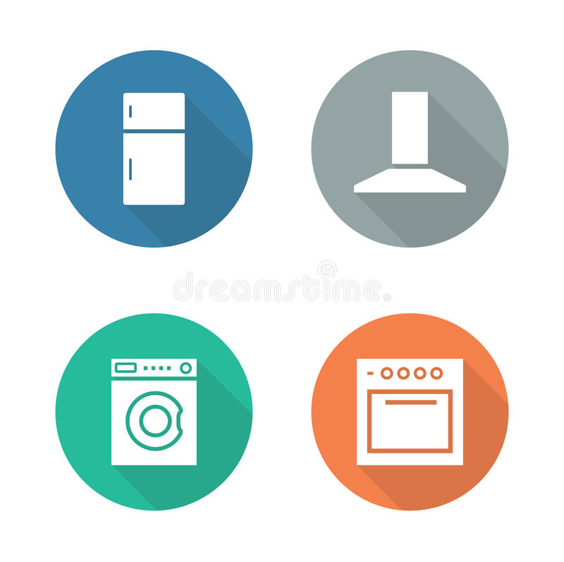 Flache Designikonen der Küchenelektronik eingestellt lizenzfreie abbildung