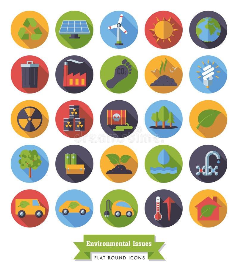 Flache Designikonen der Umwelt und des Klimas eingestellt vektor abbildung