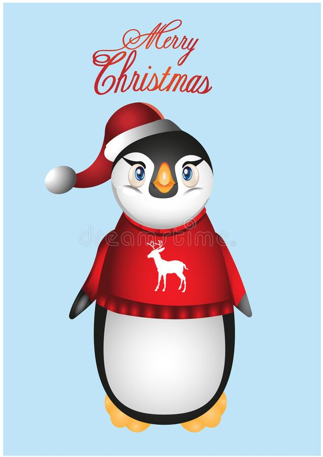 Flache Designillustration der netten Pinguinkarikatur lizenzfreies stockbild