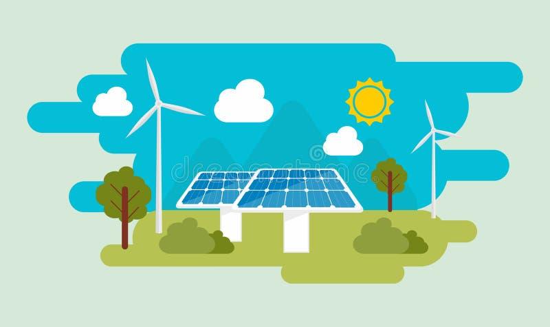 Flache Designillustration grüner eco Energie Sun und Wind-Energie Sonnenkollektor- und Windparkillustration stock abbildung