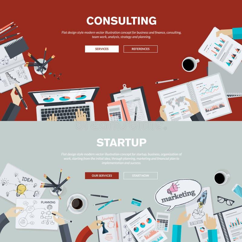 Flache Designillustrationskonzepte für die Betriebsberatung und Start stock abbildung