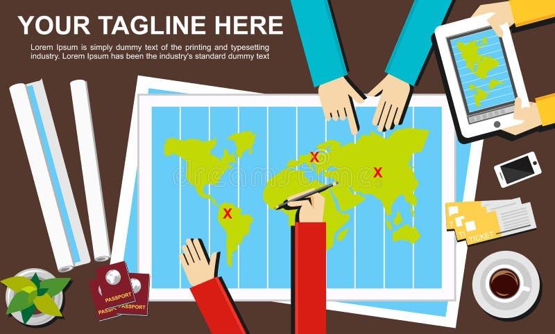 Flache Designillustrationskonzepte für Reise stock abbildung