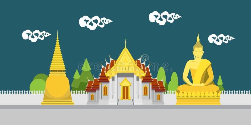 Flache Designlandschaft von Thailand-Tempel vektor abbildung